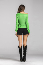 Boat Neck Knitted Autumn Casual Long Sleeve Blouse Fall 2017 Fashion