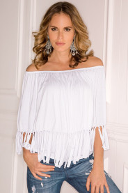 Off Shoulder Women Top  With Fringe