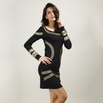 A Line Skirt With Golden Color Stamping Long Sleeve African Evening Dresses