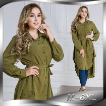 New Ladies Long Shirts Muslim Women Wine Red Green Blue Black Women's Shirts Long Sleeved Blouses Hollow Lace