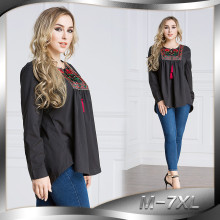 New Design Fashion Embroidered Shirt Women Black Muslim Long Sleeve Top