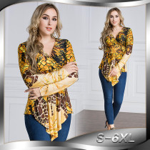 New Product Wholesale Long Sleeve Woman Top V-Neck Multi Color Print Women's Blouse Plus Size