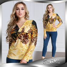 Wholesale Women Long Sleeve  Ladies Leopard Print Blouse V Neck Slimming Gold Color Silk Blouse