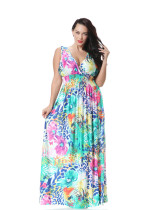 Fashionable Deep V Summer Women Sexy Boho Maxi Dress Sleeveless Long Beach Dress