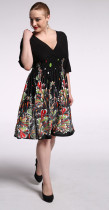 Fancy Ladies Black Lace Dress Patterns Half Sleeve Deep V Neck Midi Dress Short Autumn Clothes