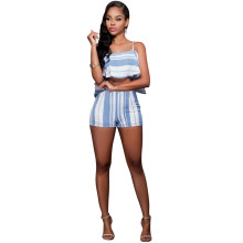 Flouncing Strip Slip Top Slim Short Two Piece Set