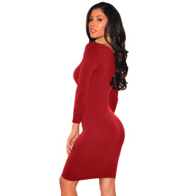 One Piece Party Casual Autumn Red Bodycon Dress 2017