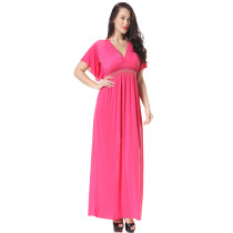 High Quality Women V Neck Solid Color Pink Long Dress High Waist  Navy Blue Plus Size Short Sleeve Maxi Dress