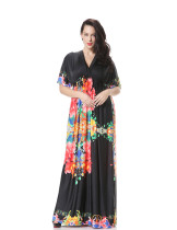 Casual Women Plus Size Flower Girl Dress Short Sleeve Black Boho Maxi Dress Long Silk Dress V Neck