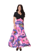 Wholesale Casual Women Short Sleeve Maxi Dress Black V Neck Pink Slimming Long Floral Dress