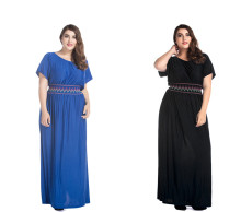 Wholesale Women Maxi Dress Short Sleeve Plus Size Black Dress Ice Silk High Waist Ethnic Plus Size Dress