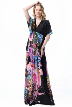 Fashionable Ladies Holiday Boho Floral Beach Dress Short Sleeve Plus Size Maxi Backless Long Silk Dress