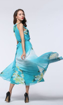 Wholesale Elegant Women Dresses Sleeveless Plus Size Chiffon Maxi Dress Gradient Color Light Blue Floral Dress