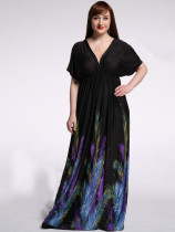 Top Sale Women Ice Silk Long Black Maxi Dress Feather Printed Short Sleeve 6Xl Deep V Neck Dress