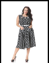 Good Quality Casual Ladies Sleeveless Polka Dot Party Dress Round Neck Black And White 7Xl One Piece Dress Of Knee Length Casual Dress