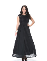 Fashionable Design Ladies Round Neck Maxi Dress Black Lace Prom Dress Sleeveless Plus Size Long Lace Dress