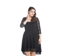Trendy Women Plus Size Black Lace Prom Dress Knee Length Midi Dress Elegant Ladies Long Sleeve Long Dress