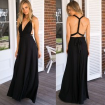 Fashionable Ladies Sexy Maxi Dress Black Backless Dress Red Green Blue Multi-Way Wearing Floor Length One Piece Party Dress