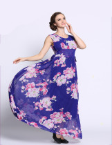 Fancy Ladies Sleeveless Long Dress Chiffon New Style Plus Size 6XL Round Neck Flower Printed Blue Floral Dress