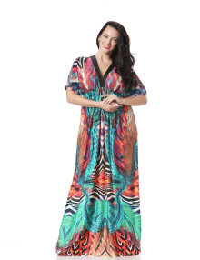 Hot Sale Ladies Short Sleeve V Neck Beach Maxi Dress Long Dress Summer Boho Holiday Silk One Piece Dress