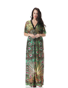 Hot Sale Holiday Casual Women Bohemian Long Dress V Neck Short Sleeve Maxi Dress Long Peacock Print Dress