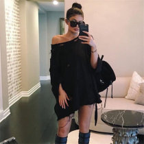 Women's Fashion Autumn Oversized Loose Batwing Sleeve Off Shoulder Hole Long Pullover Sweatshirts