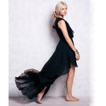 Wholesale Elegant Maxi Bandage Dress Black Front Short Long Back Sweetheart Chiffon Dress Plus Size Women Dresses