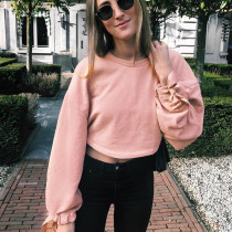 Women's Solid Pink Long Flare Sleeve Crewneck Sexy Plain Crop Top Sweatshirt with drawstring sleeve