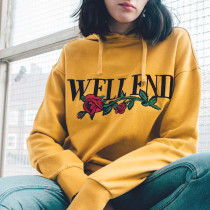 Women's Fashion Casual Long Sleeve 3D Letter Floral Printed Sim Fit Pullover Drawsring Hooded Sweatshirt without Pockets