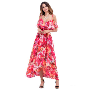 High Quality Women Dresses Print Maxi Dress Flower Slip Falbala Dress Long Sleeveless Backless