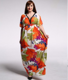 Fashionable Women Short Sleeve Long Floral Dress Flower Printing Maxi Dresses Ice Silk Bohemian Deep V Neck Dress