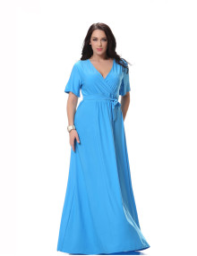 Wholesale Ladies Sky Blue Maxi Dress Short Sleeeve Long Dress Women Plus Size 6XL Casual Daily Wear Cotton Dress