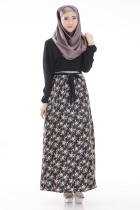 Printed Lace Up Women Muslim Dress