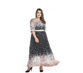 Wholesale Women Half Sleeve Round Neck Floral Maxi Dress Black High Waist Long Chiffon Floral Print Dresses