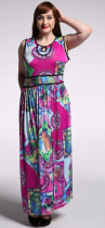 Newest Design Women Contrast Color Long Silk Dress Pattern Sleeveless Round Neck Maxi African Wax Print Dresses