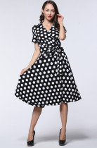 Graceful Ladies Summer Short Sleeve 50s Vintage Dress Plus Size Knee Length High Waist Midi Dress Black And White Polka Dot Party Dress