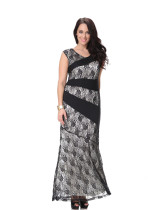 Graceful Women Sleeveless Black Lace Dress Patterns Plus Size Roung Neck Maxi Dress Floor Length One Piece Party Dress
