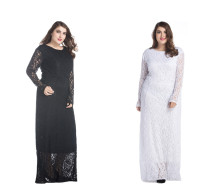 Elegant Ladies Black White Lace Maxi Dress With Sleeves Plus Size Roung Neck Long Sleeve Lace Prom Dress
