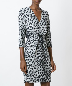 Women Autumn Deep-V Neckline Half Sleeve leopard Patch-Work  Women Dress