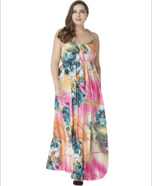 Newest Fashion Women Sexy Boho Silk Slip Dress Sleeveless Long Dresses Bohemian Floral Printing Plus Size Beach Maxi Dress