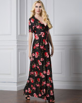 Elegant Ladies Short Sleeves Long Floral Dress Maxi Dresses Floor Length Black And Red Flower Sexy Deep V Neck Design Dress Pattern