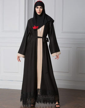 Fashion Ladies Long Sleeve Black Lace Abaya Muslim Lace Partchwork Woven Dubai Long Dress Saudi Style Abaya
