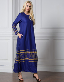 Fashionable Women Maxi Dresses Elegant Muslim Long Dress Chiffon Full Sleeve Round Neck Printing Red Navy Blue Black Muslim Long Dress