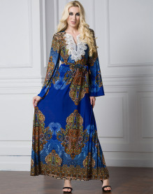 New Design Women Autumn Winter Long Sleeve Soft Ethnic Long Dress High Quality Ice Silk Bohemian Printing Blue Maxi Dress