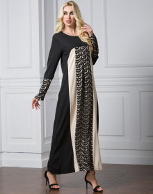 Wholesale Ladies Long Sleeve Maxi Dresses Muslim Long Dress Chiffon Red Purple Green Black Plus Size Fashion Lace Patchwork Dress