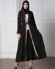 New Model Long Sleeve Chiffon Muslim Winter Coat Front Open Plus Size  Ethnic Clothing Black Abaya Sleeves Designs