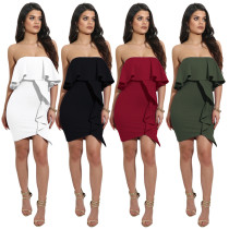 Flouncing Off Shoulder Mini Dress High Quality Clubwear
