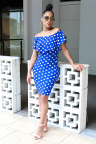 High Quality Off Shoulder Bodycon Spots A Line Dress