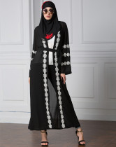 Elegant Muslim Women Clothes Long Sleeve Chiffon Abaya Long Front Open Coat 4Xl Islam Ladies Black Lace Abaya