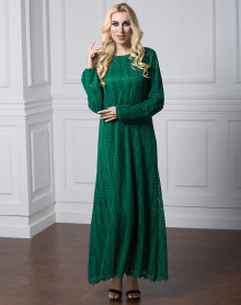 Fashionable Design Muslim Mature Women Long Sleeve Maxi Dress Islamic Lace Dress 7Xl Plus Size Plain Khaki Black Green Lace Dress